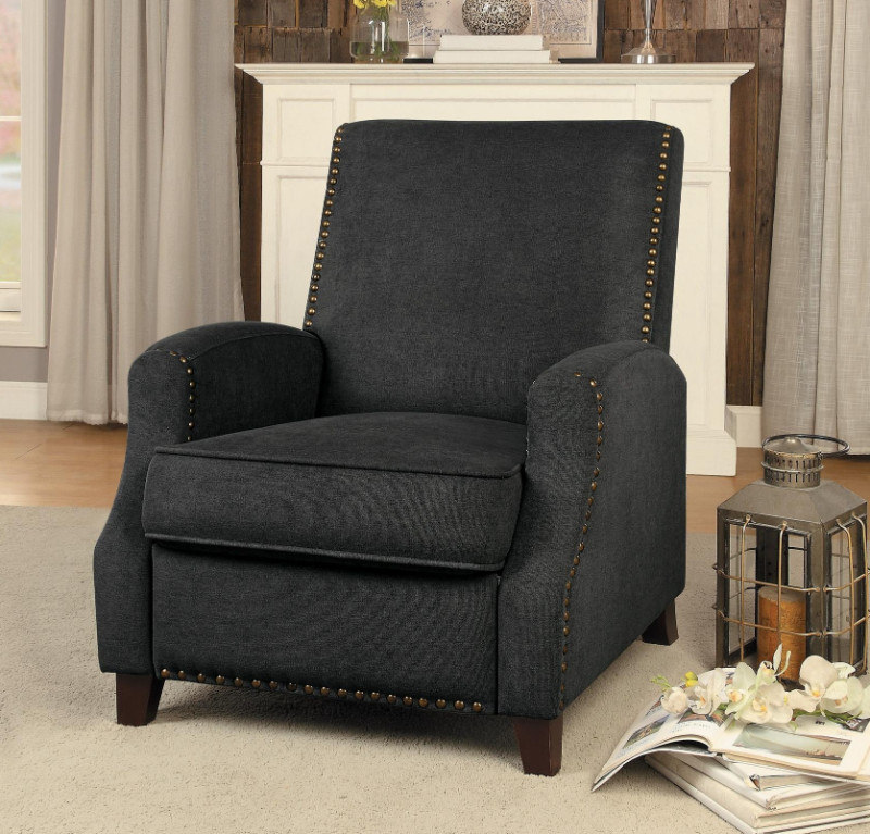 Home Elegance 8215GY Walden gray fabric push back recliner chair with nail head trim