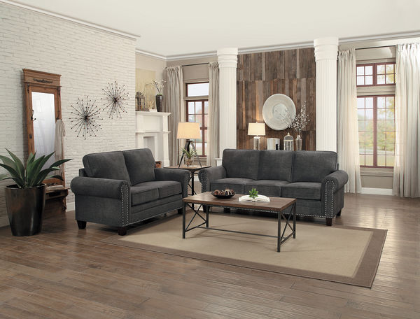 HE-8216DG-SL 2 pc cornelia collection dark gray fabric upholstered sofa and love seat set with nail head trim