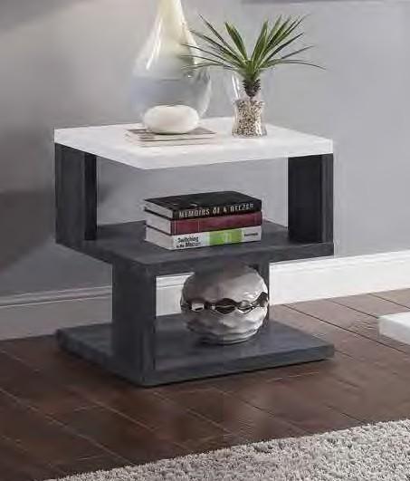 Acme 82172 Orren ellis acad pancho mid century modern gray & white high gloss finish end table