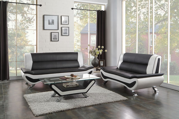 HE-8219-2pc 2 pc veloce collection black and ivory vinyl upholstered sofa and love seat set with chrome legs