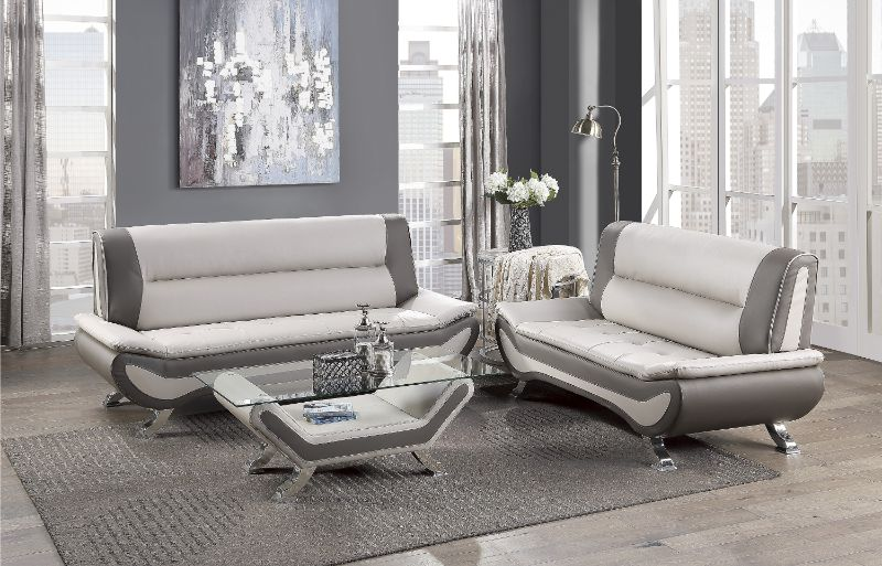 8219BEG-2pc 2 pc veloce beige and grey faux leather sofa and love seat set with chrome legs