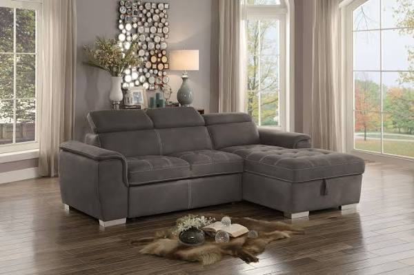 Home Elegance 8228TP-2pc 2 pc ferriday taupe textured fabric storage sectional with pull out bed lounger area