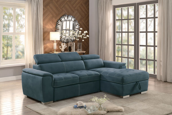 HE-8228BU-2pc 2 pc ferriday collection blue textured fabric upholstered storage sectional with pull out bed lounger area