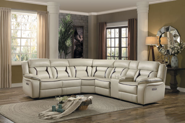 HE-8229-6pc 6 pc Amite collection beige leather gel match upholstered sectional sofa with power recliners