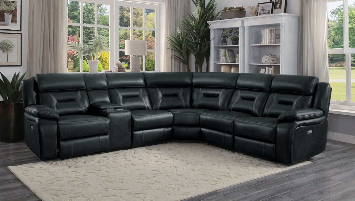 Homelegance 8229DG-6pc 6 pc Amite dark gray leather gel match sectional sofa with power recliners