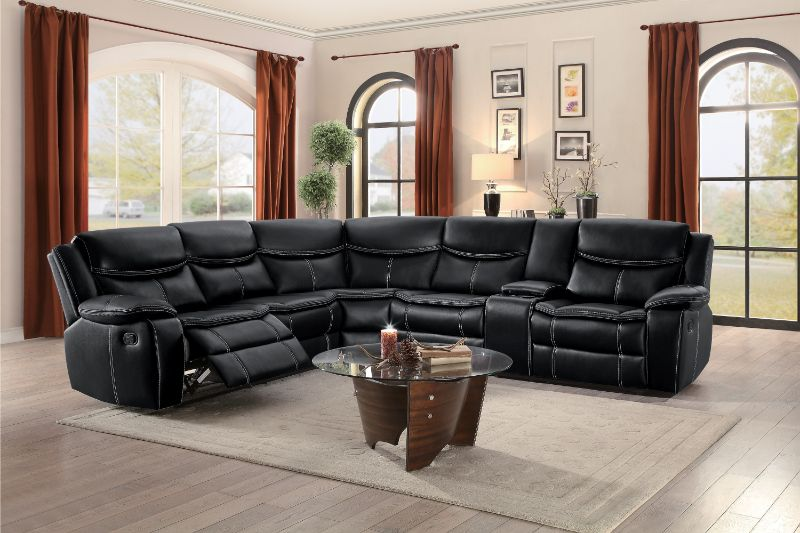 Home Elegance HE-8230BLK-3PC 3 pc Bastrop black leather gel match sectional sofa with recliners