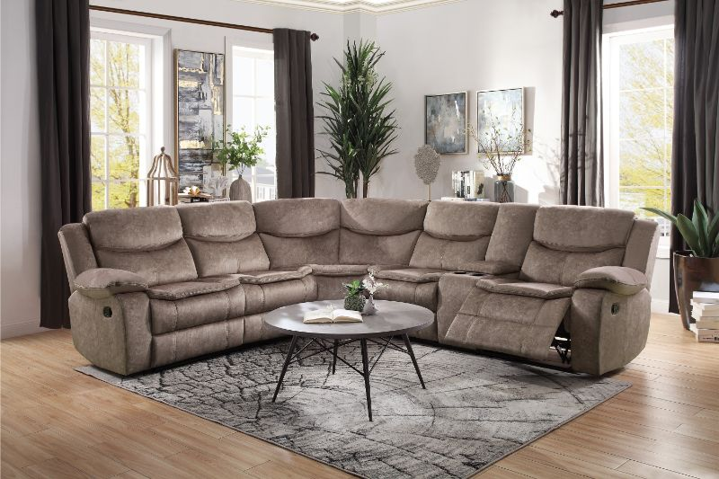 Home Elegance HE-8230FBR-3PC 3 pc Bastrop brown fabric sectional sofa with recliners