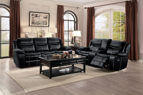HE-8230BLK2pc 2 pc Bastrop collection contemporary style black leather gel match motion sofa and love seat set