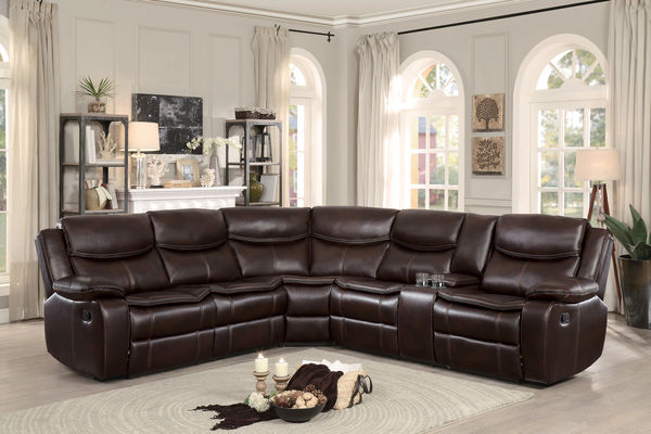 HE-8230BRW-3pc 3 pc Bastrop collection brown leather gel match upholstered sectional sofa with recliners and console table