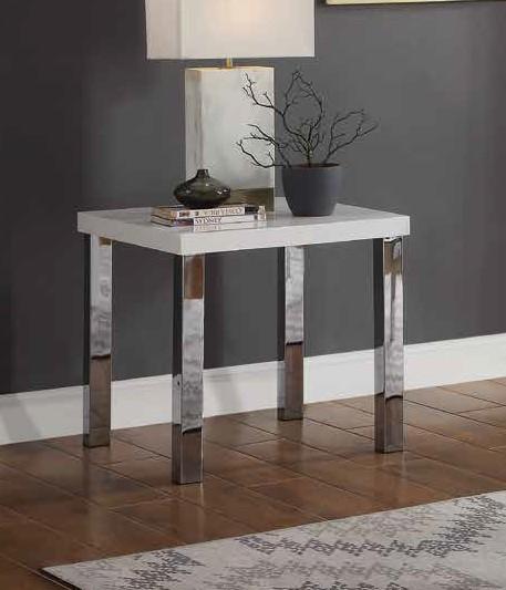 Acme 82332 Orren ellis silikou harta modern white high gloss finish end table