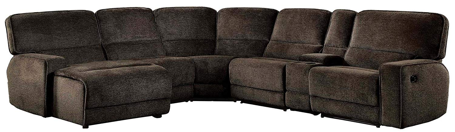 Home Elegance He 8238 6lcrr 6 Pc Shreveport Brown Fabric Sectional Sofa With Recliners Console Table And Chaise