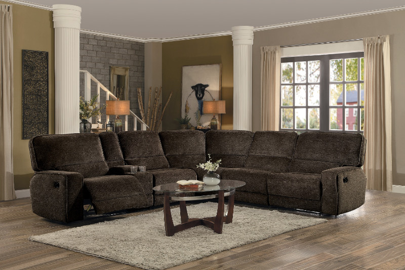 Home Elegance HE-8238-6pc 6 pc Shreveport brown fabric sectional sofa with recliners and console table
