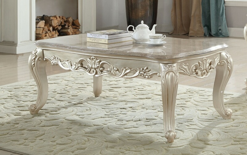 Acme 82440 Gorsedd Antique White Finish Wood Marble Top Coffee Table