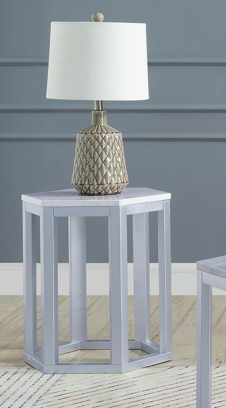 Acme 82457 Set of 2 Reon silver finish wood marble top hexagon chair side end table