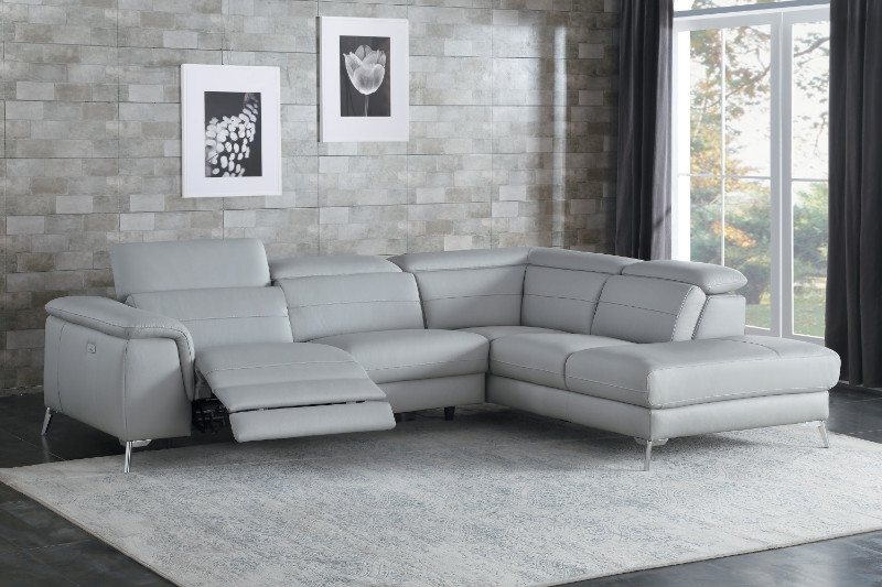 Home Elegance HE-8256GY 2 pc Cinque gray top grain leather sectional sofa  with power reclining foot rest and chaise