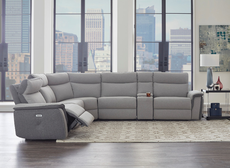 Home Elegance HE-8259-6PC 6 pc Maroni gray fabric sectional sofa power motion recliners and console