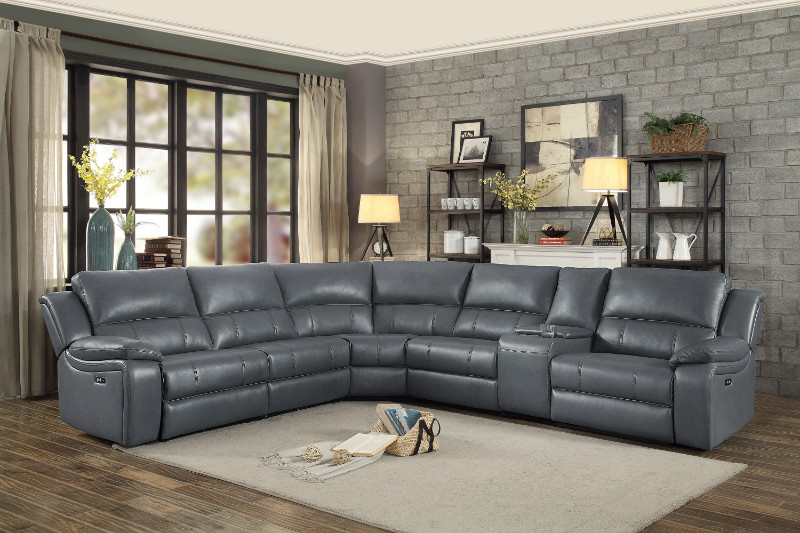 8260GY-6pc 6 Pc Falun Gray Leather Gel Match Sectional Sofa With Power Motion Recliners
