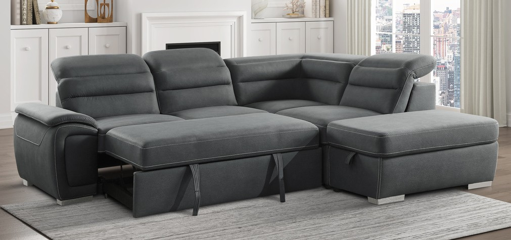 Homelegance 8277NGY 3 pc Platina gray fabric sectional sofa set with pull out sleep area