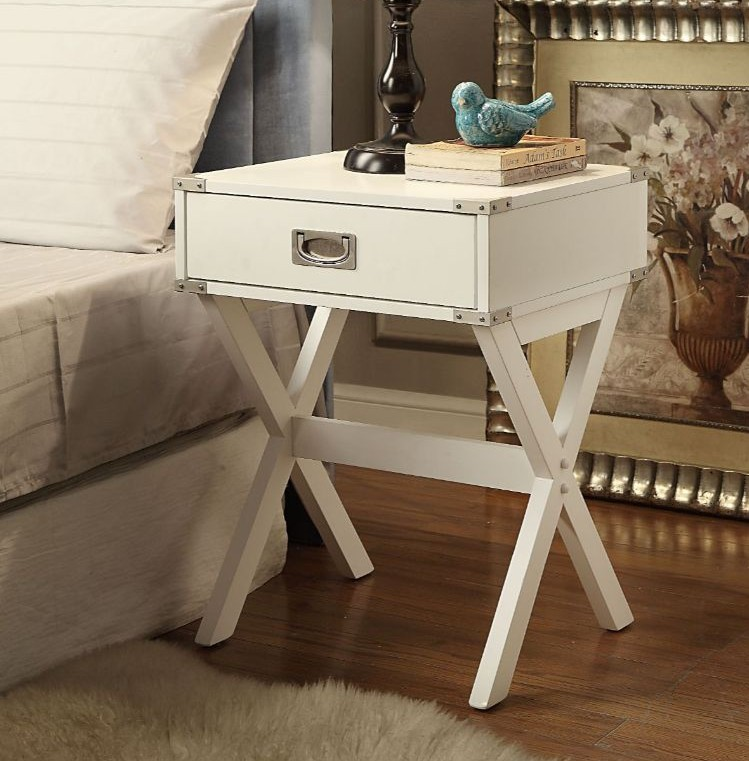 Acme 82824 Ivy bronx durlston babs white finish wood side end table