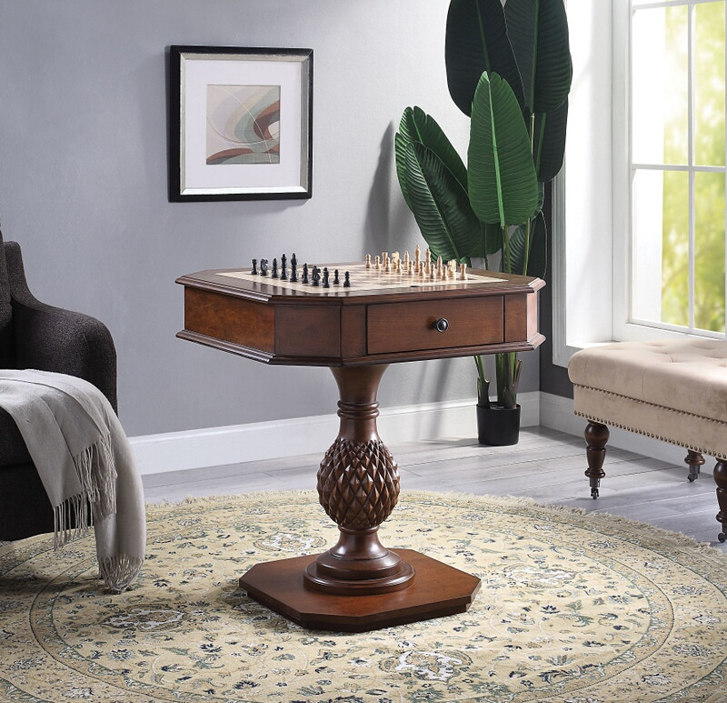 Acme 82847 Major-Q colourtree bishop cherry finish wood chair side chess / backgammon game table
