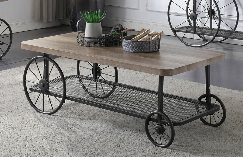 Acme 82860 17 stories gambier francie oak finish wood antique gray metal frame coffee table