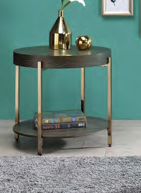 Acme 82957 Foundry select cerie weyton dark oak finish wood top champagne metal frame round chair side end table