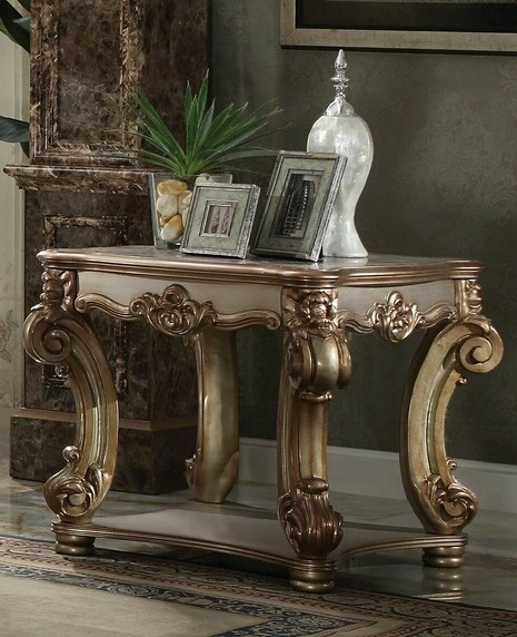 Acme 83001 Astoria grand welles vendome gold patina finish wood carved accents chair side end table