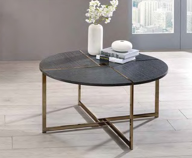Acme 83005 Foundry select cerie bromia black finish wood top champagne metal frame round coffee table