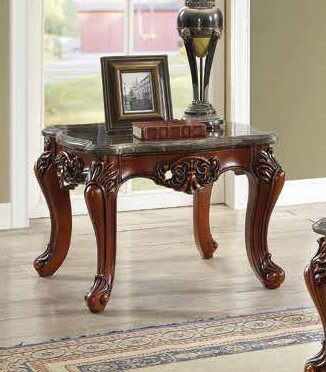 Acme 83067 Astorai grand anner eustoma walnut finish wood marble top chair side end table