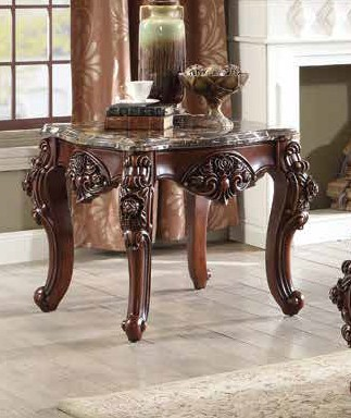 Acme 83072 Astorai grand keagan forsythia walnut finish wood marble top chair side end table