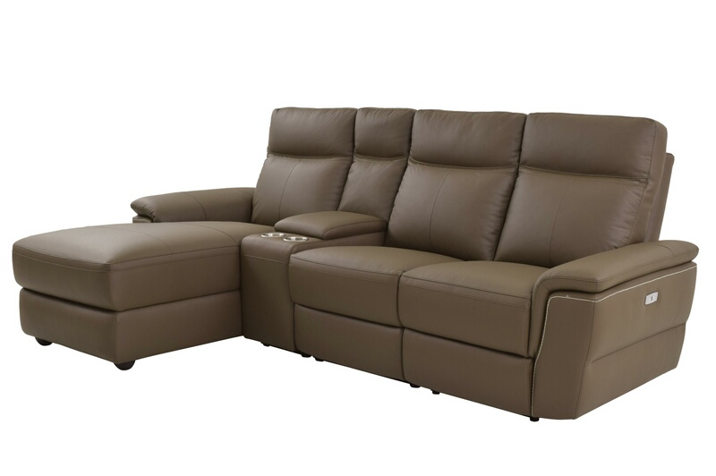 HE-8308-4pcLAC 4 pc olympia collection ultra modern style raisin color top grain leather upholstered power motion sectional sofa