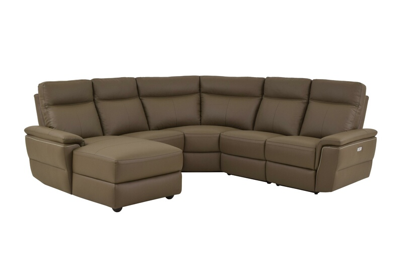 Home Elegance 8308-5pcLAC 5 pc olympia II collection ultra modern style raisin color top grain leather upholstered power motion sectional sofa