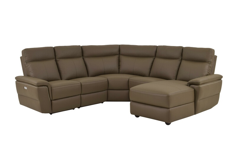 HE-8308-5pcRAC 5 pc olympia III collection ultra modern style raisin color top grain leather upholstered power motion sectional sofa