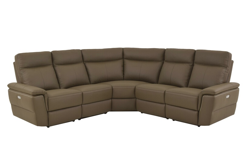 Home Elegance 8308-5pc 5 pc olympia collection ultra modern style raisin color top grain leather upholstered power motion sectional sofa