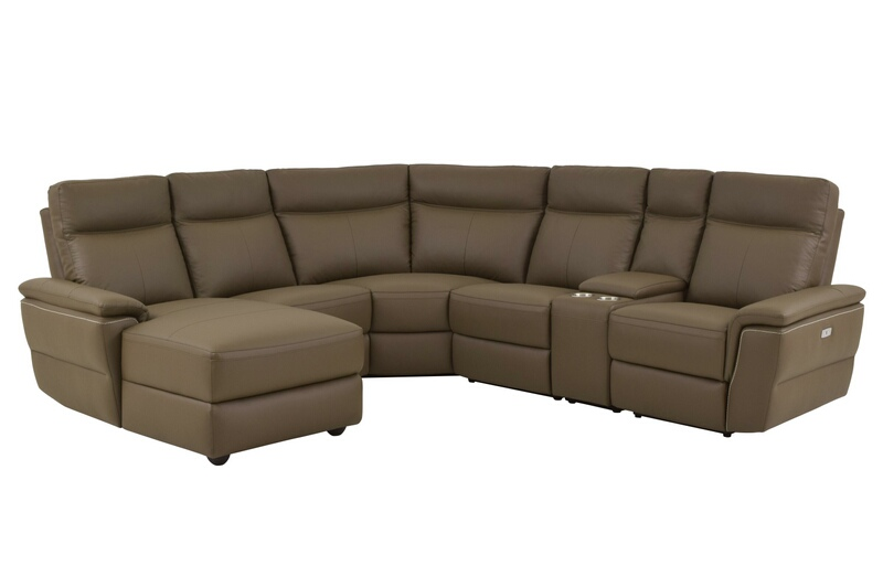 Home Elegance 8308-6pcLAC 6 pc olympia collection ultra modern style raisin color top grain leather upholstered power motion sectional sofa