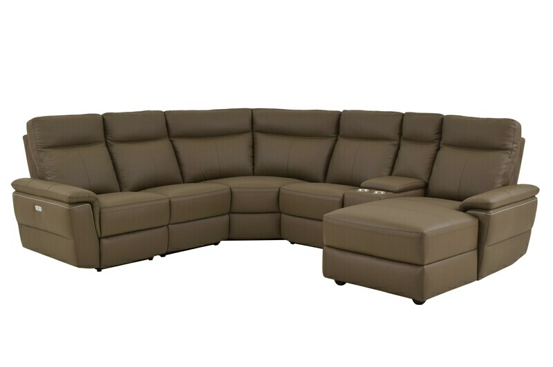 HE-8308-6pcRAC 6 pc olympia II collection ultra modern style raisin color top grain leather upholstered power motion sectional sofa