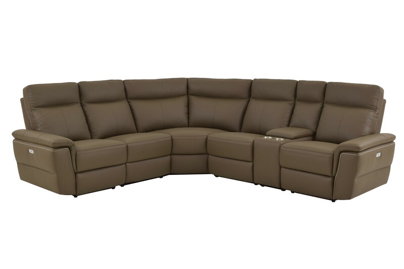 Home Elegance 8308-6pc 6 pc olympia III collection ultra modern style raisin color top grain leather upholstered power motion sectional sofa