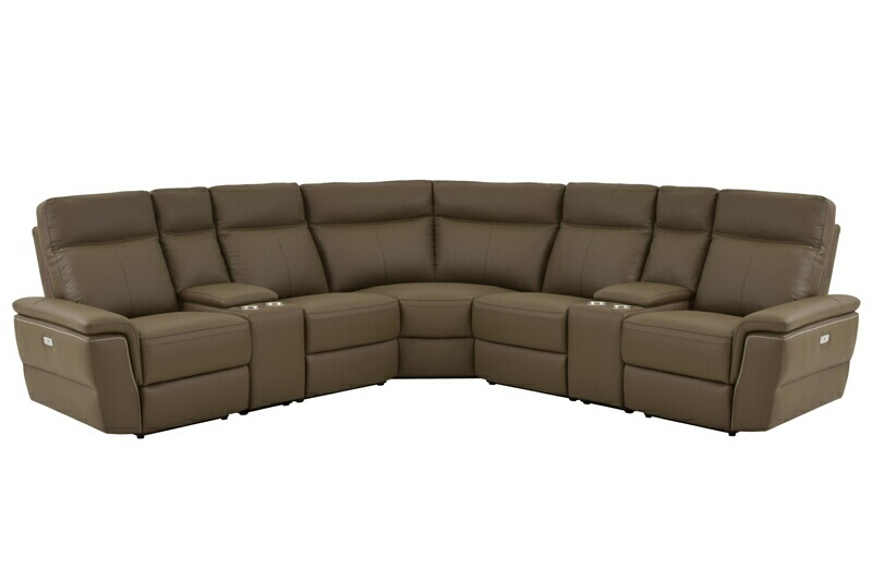 Home Elegance 8308-7pc 7 pc olympia ultra modern style raisin color top grain leather power motion sectional sofa