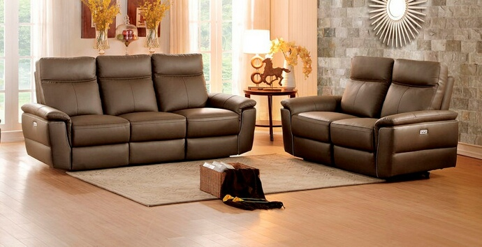 HE-8308-SL 2 pc olympia collection ultra modern style raisin color top grain leather upholstered power motion sofa and love seat