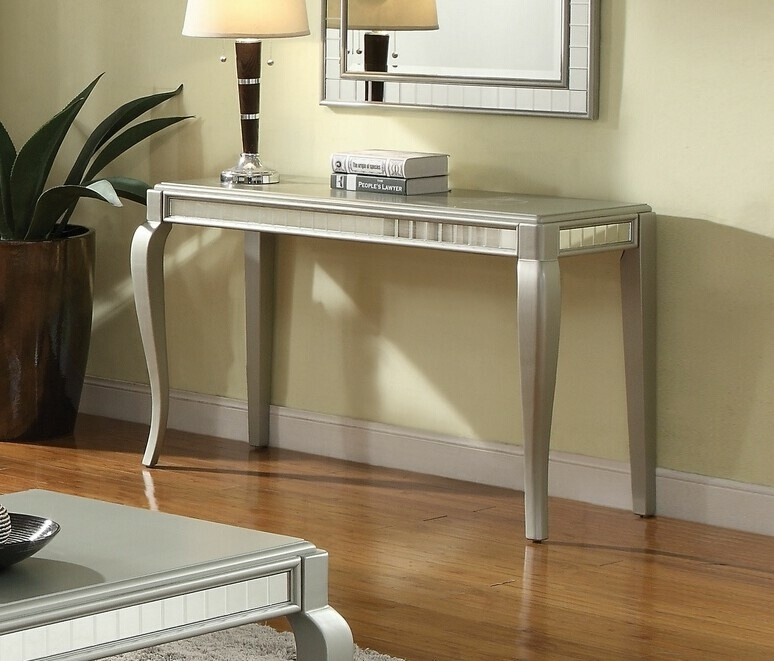 Acme 83084 Francesca champagne finish wood / mirror sofa entry console table