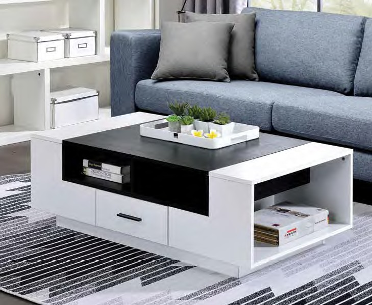 Acme 83135 Orren ellis silikou armour modern white and black high gloss finish coffee table