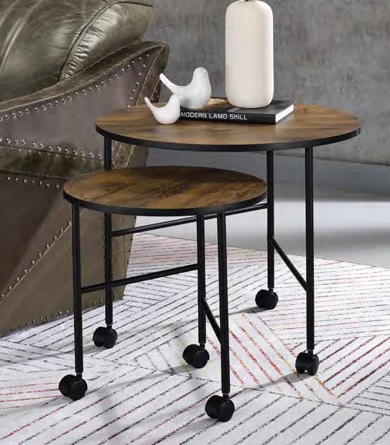 Acme 83150 2 pc Williston forge caruthersville oblis vintage oak finish top black finish frame nesting table set