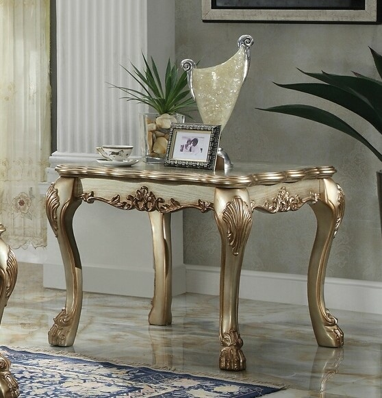 Acme 83161 Astoria grand selena dresden gold patina finish wood carved accents rectangular chair side end table