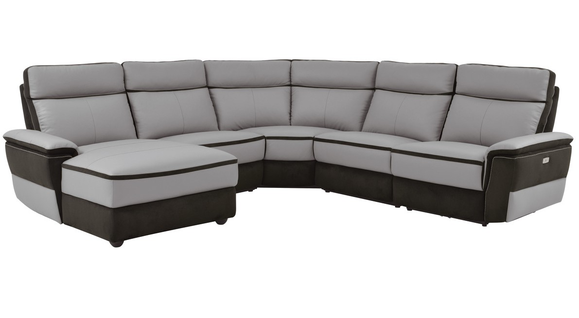 8318-5pcLAC 5 pc laertes II two tone grey top grain leather and darker tone fabric power reclining sectional sofa
