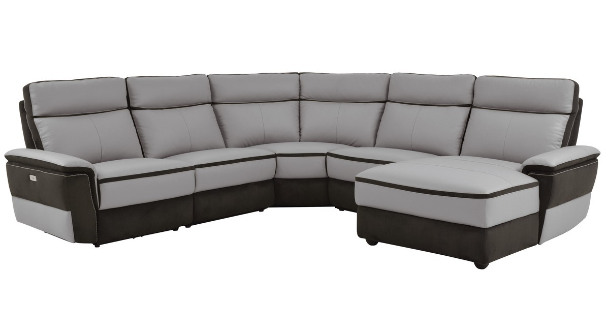 Homelegance 8318-5pcRAC 5 pc laertes III two tone grey top grain leather and darker tone fabric power reclining sectional sofa