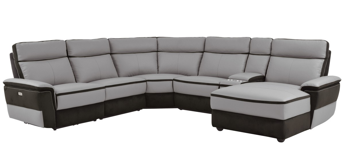 Homelegance 8318-6B 6 pc laertes two tone grey top grain leather and darker tone fabric power reclining sectional sofa
