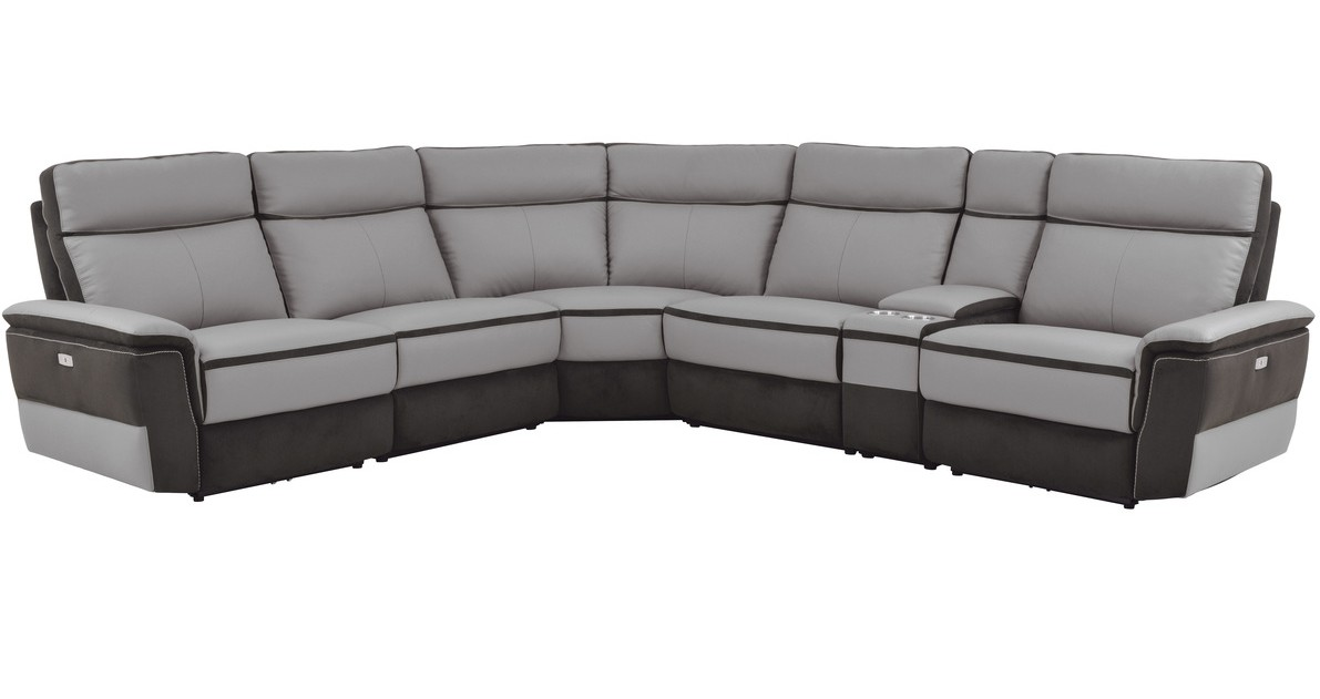 Homelegance 8318-6pcA 6 pc laertes III two tone grey top grain leather and darker tone fabric power reclining sectional sofa