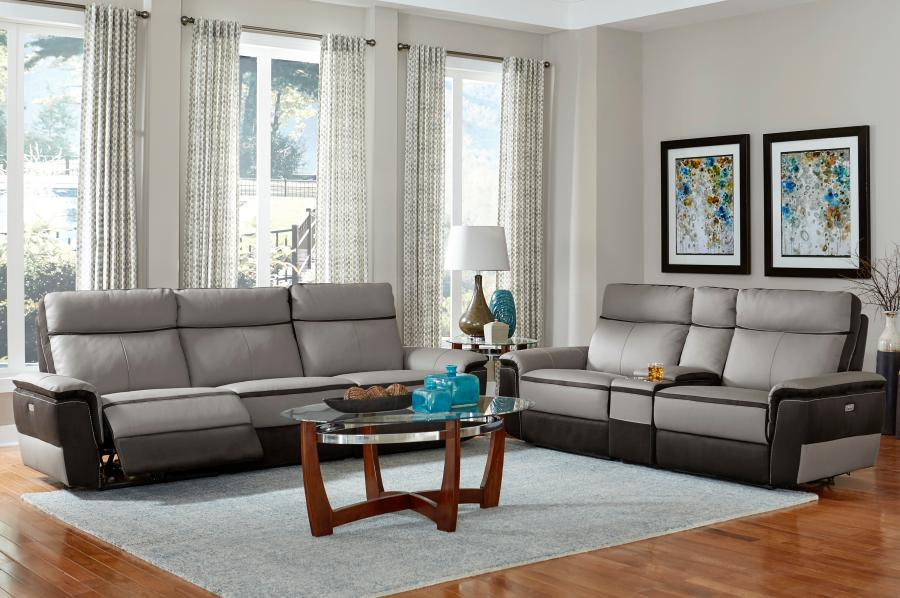 Strange Homelegance 8318 2Pc 2 Pc Laertes Two Tone Grey Top Grain Leather And Darker Tone Fabric Power Reclining Sofa And Love Seat Uwap Interior Chair Design Uwaporg