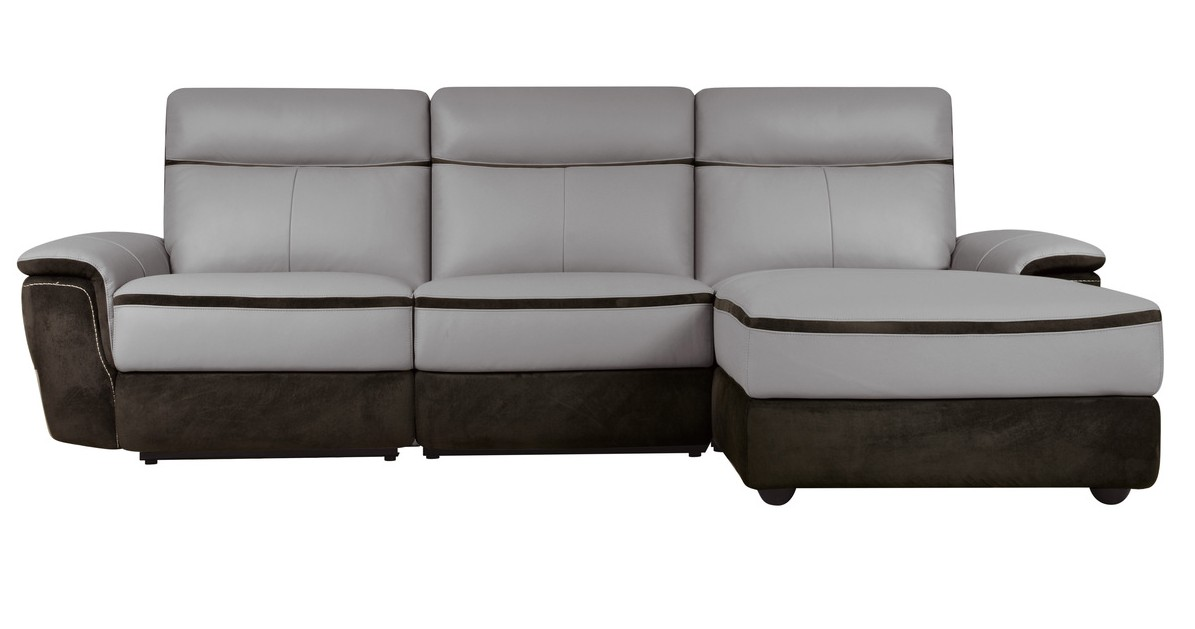 HE-8318-3pcRAC 3 pc laertes II collection two tone grey top grain leather and darker tone fabric upholstered power reclining sectional sofa