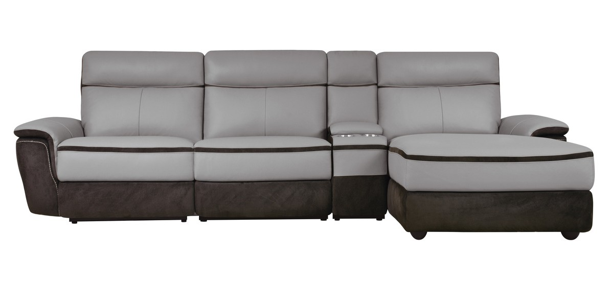 Homelegance 8318-4pcRAC 4 pc laertes II two tone grey top grain leather and darker tone fabric power reclining sectional sofa